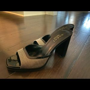 Gucci Black Heeled Sling Sandals Chunk Heel 7B